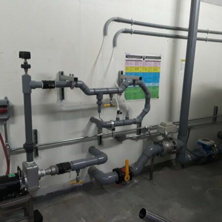A largish pH adjustment system, tanks are outdoors.